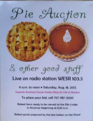 Pie Auction poster featuring a sweet potato pie on right. Exmore, Virginia (2011).